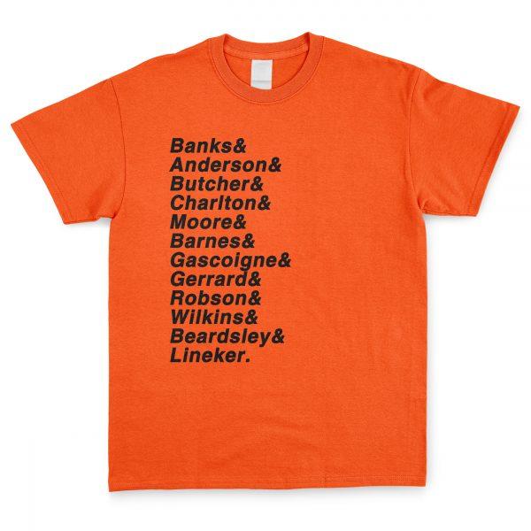 Orange & Black Personalised Favourite XI T Shirt